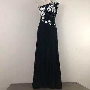 Lillie Rubin One Shoulder Long Beaded Gown